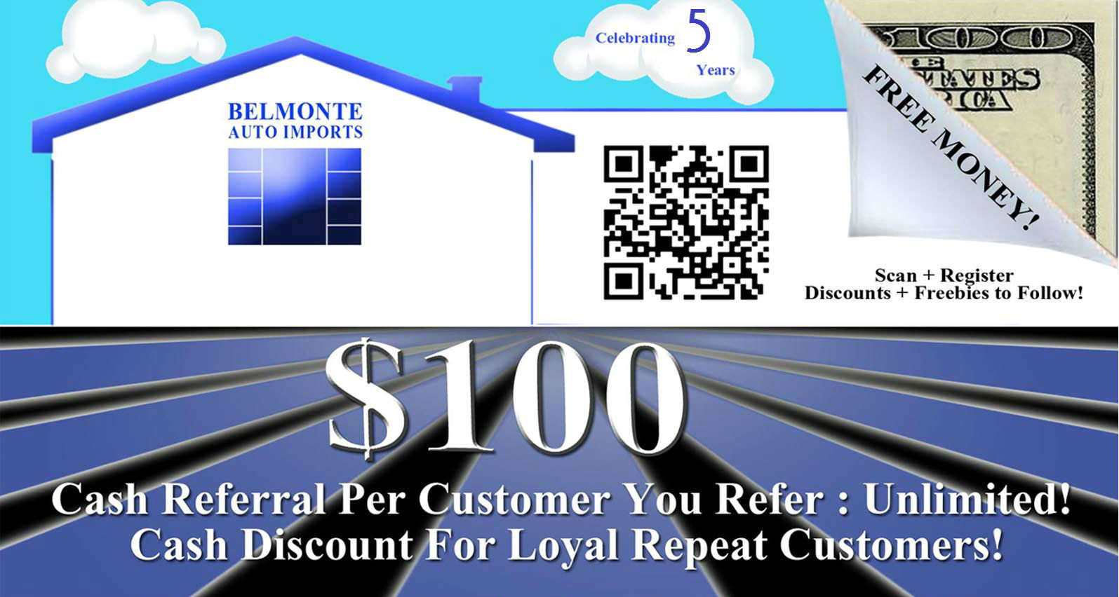 Belmonte Auto Referral Postcard 5 years no text