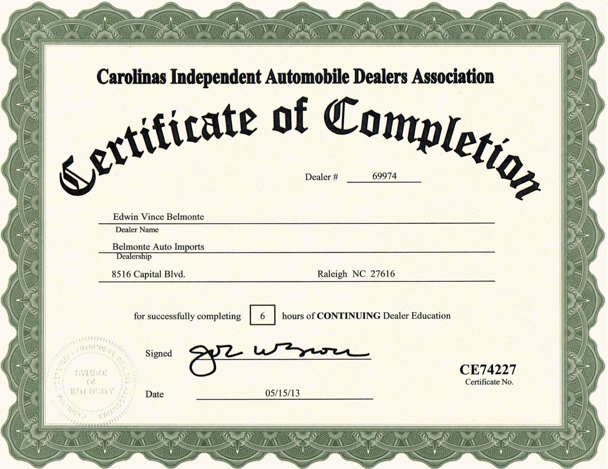 Certificatioon